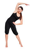 Frau, die sportliche Übungen tut. getrennt auf Weiß Lizenzfreies Stockbild
