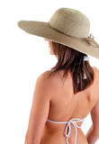 Frau, die Sun-Hut trägt Stockbild