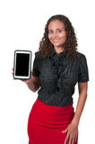 Frau, die Tablette verwendet Lizenzfreie Stockfotos