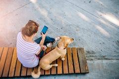 Frau, die Telefon im Park verwendet Stockbild