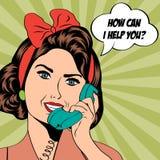 Frau, die am Telefon, Pop-Arten-Illustration plaudert Lizenzfreie Stockbilder