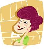 Frau, die am Telefon spricht lizenzfreie abbildung