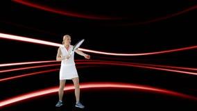 Frau, die Tennis spielt stock video footage