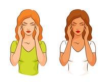 Frau, die unter den Kopfschmerzen, ihre Tempel berührend leidet Lizenzfreies Stockbild