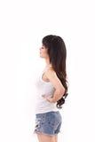 Frau, die unter den rückseitigen Schmerz leidet Stockfotos