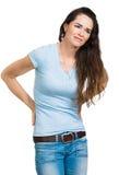 Frau, die unter Rückenschmerzen leidet Lizenzfreie Stockfotografie