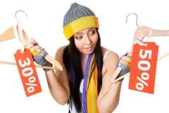 Frau, die an Verkauf denkt Lizenzfreie Stockfotografie