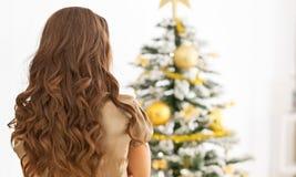 Frau, die vor Weihnachtsbaum steht Hintere Ansicht stockfotografie