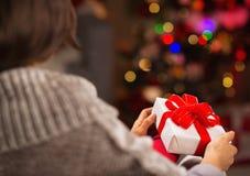 Frau, die Weihnachtsgeschenkkasten anhält. Hintere Ansicht Lizenzfreies Stockfoto