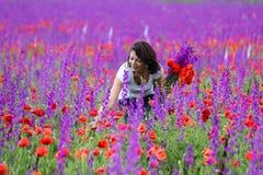 Frau, die wilde Blumen auswählt Lizenzfreies Stockbild