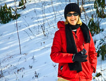 Frau, die Winter-Fotos nimmt Lizenzfreie Stockfotos