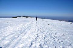 Frau, die Wintertrekking in den Bergen tut Stockfotos