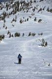 Frau, die Wintertrekking in den Bergen tut Lizenzfreie Stockbilder
