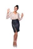 Frau, die zehn Finger zeigt Stockbilder