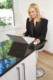 Frau, die zu Hause arbeitet Lizenzfreie Stockfotos