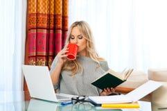 Frau, die zu Hause an Laptop arbeitet Stockfotos