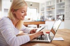 Frau, die zu Hause an Laptop arbeitet Lizenzfreies Stockbild