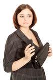 Frau, die zum Telefon anhält Lizenzfreies Stockbild