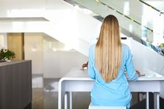 Frau, die zurück bei Tisch durch den Computer sitzt Hintere Ansicht lizenzfreies stockfoto