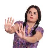Frau drückt Ablehnung aus Lizenzfreie Stockfotografie