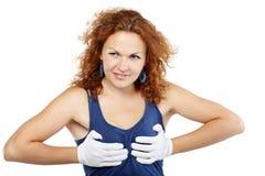 Frau drückt ihre Brüste mit ihren Händen zusammen Stockbild