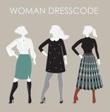 Frau dresscode Vektorillustration Frauen in den verschiedenen Ausstattungen Lizenzfreie Stockfotos