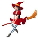 Frau in dunkelrotem Halloween-Kostüm des Hexenfliegens auf Besen Karikaturart-Vektorillustration auf Weiß Stockfoto