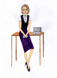 Frau in einem Büro Abbildung Stockfoto