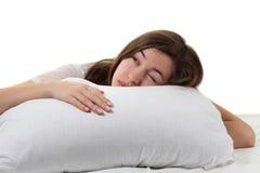 Frau in einem Bett Stockbilder