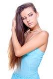 Frau in einem blauen Kleid Lizenzfreie Stockbilder
