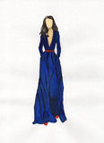 Frau in einem blauen Kleid Abbildung Lizenzfreie Stockbilder