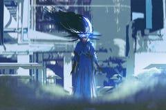 Frau in einem blauen Kleid, das in der futuristischen Stadt steht Stockbilder