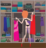 Frau in einem Garderobenraum Stockfoto
