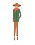 Frau in einem grünen Mantel Stockbilder