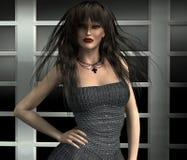 Frau in einem grauen Kleid Lizenzfreie Stockfotografie