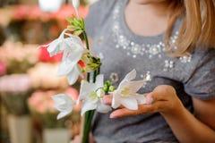 Frau in einem grauen Kleid, halten schöne weiße Blumen Stockfoto