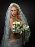 Frau in einem Hochzeitsschleier Stockfotos
