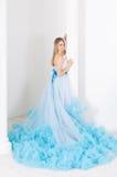 Frau in einem langen blauen Kleid lizenzfreie stockfotografie