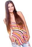 Frau in einem mehrfarbigen Hemd Stockbilder