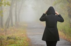 Frau in einem nebeligen Wald Stockbilder