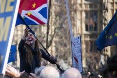 Frau in einem Pro-Europa-Marsch lizenzfreies stockfoto