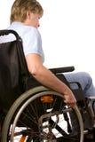 Frau in einem Rollstuhl Stockfotos