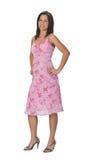 Frau in einem rosafarbenen Kleid Lizenzfreies Stockbild