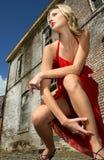 Frau in einem roten Kleid Lizenzfreies Stockbild