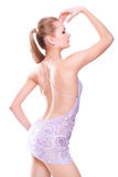 Frau in einem violetten Kleid Stockbilder