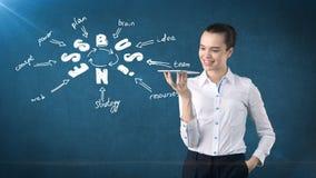 Frau in einer Klage, die Behälter nahe der Wand mit einer Geschäftsideenskizze gezeichnet auf sie hält Konzept eines erfolgreiche Stockfotografie