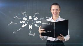 Frau in einer Klage, die Bericht nahe der Wand mit einer Geschäftsideenskizze gezeichnet auf sie hält Konzept eines erfolgreichen Stockfotos