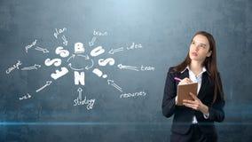 Frau in einer Klage, die Notizbuch nahe der Wand mit einer Geschäftsideenskizze gezeichnet auf sie hält Konzept eines erfolgreich Lizenzfreies Stockfoto