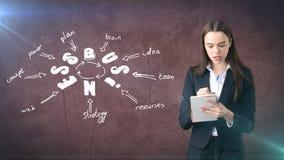 Frau in einer Klage, die Notizbuch nahe der Wand mit einer Geschäftsideenskizze gezeichnet auf sie hält Konzept eines erfolgreich Stockbild