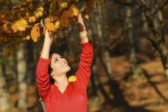 Frau in einer romantischen Herbstlandschaft Lizenzfreie Stockfotos